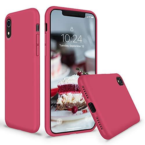 SURPHY Cover iPhone XR Silicone, Custodia iPhone XR Silicone Slim Cover Antiurto con Morbida Microfibra Fodera, Full Body Cover Case per Apple iPhone XR 6.1 Pollici (2018), Ibisco
