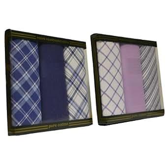 Value Pack Of 2 Mens/Gentlemens 3 Pack Handkerchiefs, Check & Stripe Print, Navy & Purple