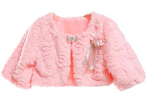 Sk studio bambine giacca pelliccia ecologica rosa bolero stola coprispalle cappotti spalla mantella