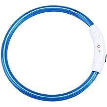 Collares para mascotas collares luminosos para perros led electrico con descarga by Sannysis (Azul, 35cm pequeño)