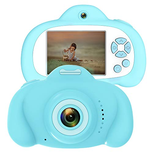 CamKing Musik Kamera, Anti-Drop Kinder Digitalkamera mit weicher Silikonhülle und 18MP Dual Lens 2, 4 Zoll HD-Bildschirm (Blau)