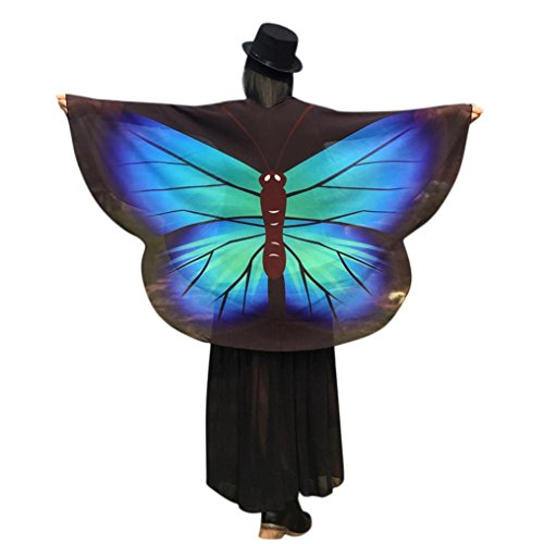 Schmetterling Kostüm, Dasongff Damen Schmetterlingsflügel Schal Lose Umhang Kimono Strickjacke Top Shirt Bluse Fasching Halloween Cosplay Kostüm Schal Cape Tuch (160 * 140 cm, Grün) (Kunst-halloween-kostüme)