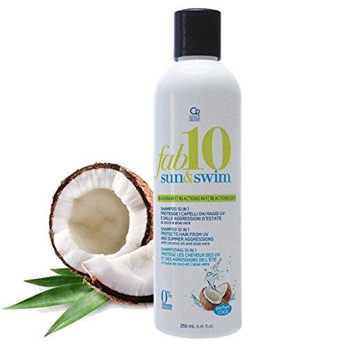Fab10 - Sun & Swim Shampoo Solare 10in1 - Trattamento Professionale 10 Benefici per Capelli con Cheratina e Proteine Della Seta - Con Filtro e Protezione dal Sole - 250 ml