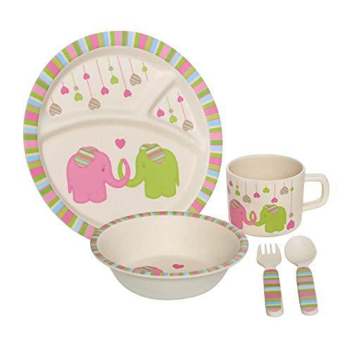 Premier Housewares Kinder Geschirr-Set, 5Stück, Bambus, Mehrfarbig, 21 x 21 x 9 cm, Bamboo Fibre, 25x22x9, 5 - 5 Stück Kinder-dinner-set