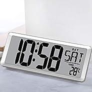 "TXL 3039 Jumbo Digital Alarm Clock Battery Operate Extra Large LCD Display 4.6"" Bold Font Calendar, 12/24"