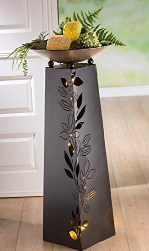 Schalenständer m. Schale Blätterranke Metall dunkelbraun Höhe 95 cm, Deko Garten, Bepflanzen, Deko Haus