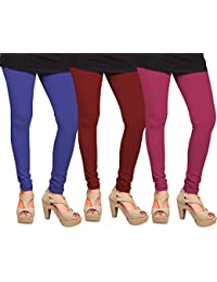 CAY 100% Cotton Combo of Dark Pink, Blue and Maroon Color Plain, Stylish & Most Comfortable Leggings For Girls & Women with Full Length (SIZE : Free Size)