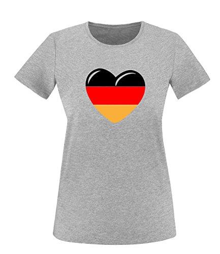 Luckja EM 2016 Deutschland Herz Fanshirt Damen Rundhals T-Shirt Grau/Bunt