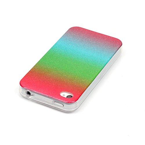 Coque iPhone 4S, Étui iPhone 4, iPhone 4S/iPhone 4 Case, ikasus® Coque iPhone 4S/iPhone 4 Silicone Étui Housse Téléphone Couverture TPU avec Dégradé de couleur Modèle de diamant brillant paillettes bl Rouge Vert Bleu