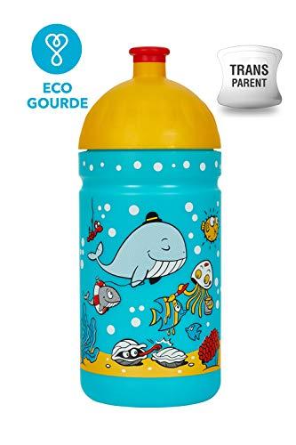 Botella de Agua Ecológica para niños 0,5L sin BPA sin Ftalatos Irrompible, Duradera y Chula!! Made IN EU (El Mundo de la Mer)