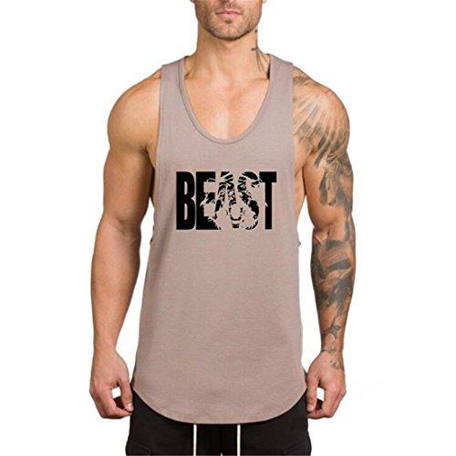 YeeHoo Beast Camiseta Sudaderas Hombre Culturismo Muscular Chaleco sin Mangas Deportiva de Tirantes Tank Top algodón