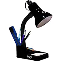 ESN 999 Plastic Table Lamp With Attached Pen Stand, Black