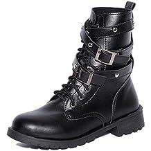 QUICKLYLY Zapatos de Mujer-Hebilla de Fondo Plano de Mujer con Grueso con Botas Martin