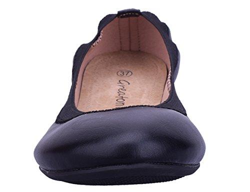 Greatonu Damen Geschlossene Ballerinas Ballett Flach Schuhe Schwarz