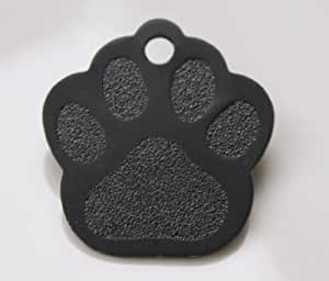 Paw Print Pet Tags - 32mm Wide - 9 Colours To Choose From, Free Engraving (Black)