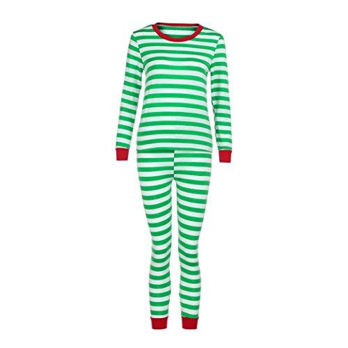Gaddrt Frauen / Männer Paar Familie Matching Weihnachten Pajamas Set Bluse + Santa Striped Hosen Outfits Kleider Set (L, (Halloween Ideen Paar Outfit Süßes)