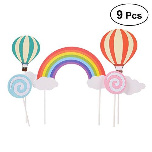 BESTONZON 9pcs Cake Toppers Glitter mit Papier-Sticks und Kleber Cupcake Cake Toppers Flaggen Dekorationen Geburtstag Hochzeit (Rainbow Hot Air Balloon Cloud)
