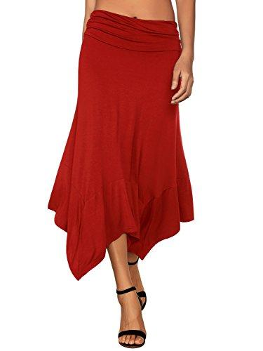 DJT Damen Elastische Taille Einfarbig Ausgestelltes A-Linie Faltenrock Rot 2XL