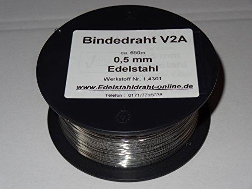 1 Spule Bindedraht aus Edelstahldraht VA V2A 0,5mm ca.650m weich, biegsam und flexibel rostfreier Edelstahldraht 1.4301 (Ca Va)