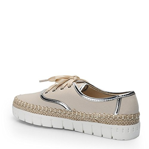 Ideal Shoes–Espadrilles Style Sneakers mit Sohle aus Radierer Candia Beige - Beige