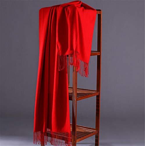 XLNSMZ Thick Kaschmir einfarbig Schal weiblichen Herbst und Winter Schal, rot