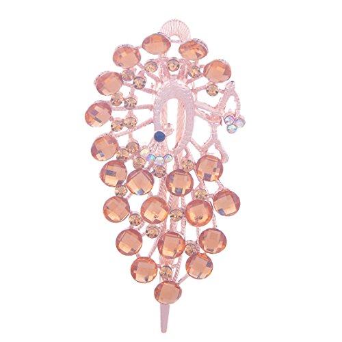 QIYUN.Z 18k Gold Peacock Harzrhinestone-Perlen-Haarnadel Haarnadel Clip Banana Haarspange Haargummis Haarklammern Haarkrallen Spinnen Haarspangen Clips