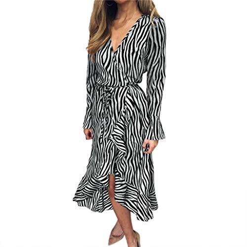 BestShope ♞♜♛ Damen Freizeitkleider, Röcke Tiger Pattern Print V-Ausschnitt Bandage Langarm Strand lässig Midi-Kleid Sommerkleid Strandkleider Unterröcke Dirndlblusen Abendkleid Für Frauen Mädchen -