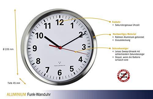 TFA Dostmann Funk-Wanduhr mit geräuscharmen Sweep Uhrwerk, Aluminium, Glas, weiß, (L) 220 x (B) 45 x (H) 220 mm