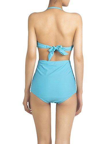 iBiP Damen Vintage Aufgeschlitzt Verstellbare Halfter Hohe Taille Bikini  Set Meerblau