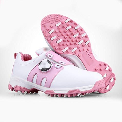 Santonliso Golfschuhe für Kinder, wasserdichte Schuhe, Bequeme Sportschuhe (Farbe : Rosa, Size : 36)