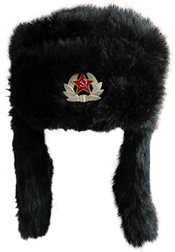 Russische Uschanka-Mütze, aus Kunstfell,  59 cm, mit abnehmbarem Sowjet-Abzeichen...