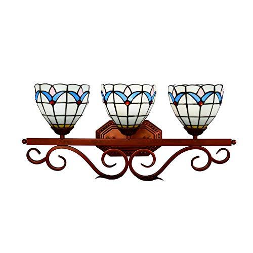 Tiffany Wandleuchte Vintage Pastoral Wandleuchte mit Glasmalerei 3 Köpfe Loft Bar Korridor Hauptbeleuchtung E27