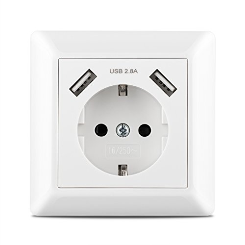 USB Steckdose System 55 Kaifire USB Schuko Wandsteckdose mit 2 USB Anschluss 2.8A USB-Port Ladegerät Iphone/Android