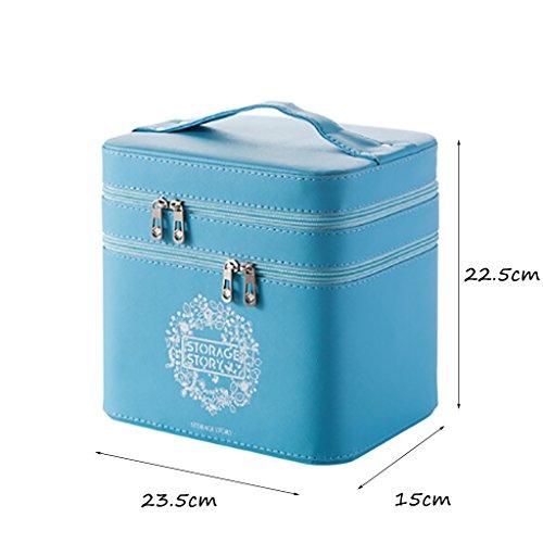 CLOTHES- Sacchetto cosmetico impermeabile del doppio strato sacchetto di immagazzinaggio della scatola cosmetica grande portatile portatile di grande capacità portatile ( Colore : Verde ) Blu