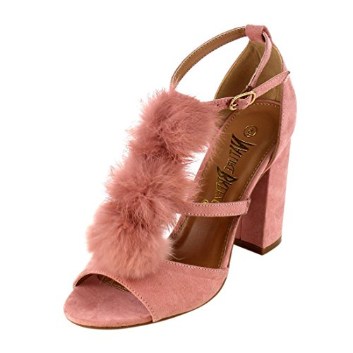 3c5bae459df374 Nature Breeze Women s Strappy Open Toe Pom Pom Chunky Stacked Block Heel  Sandal