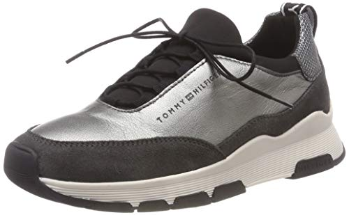 Tommy Hilfiger Damen COOL Leather Debossed Sneaker Silber (Silver 000) 41 EU