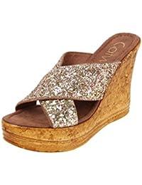 Catwalk Golden Leather Slip-on Wedges for Women's