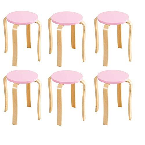 STAR-LIFE Massivholzhocker, Stapelbarer Runder Rückenfreier Esszimmerhocker Für Den Küchenheimgarten (6er Pack) (Color : Pink) - Solid Color Star