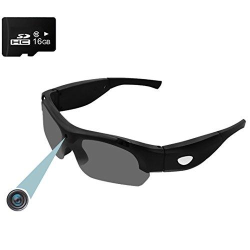 Video Sport Sonnenbrille Forepin® 16GB 1920x1080P Full HD Spion Kamera Brille DV Camcorder mit Aufzeichnung und Fotografieren Funktion (Schwarz)