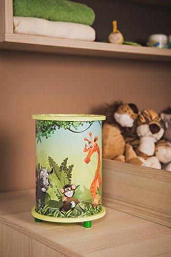 dschungel lampe Elobra Kinderlampe Tischleuchte Wildnis Dschungel, Kinderzimmer, Holz, lindgrün, A++