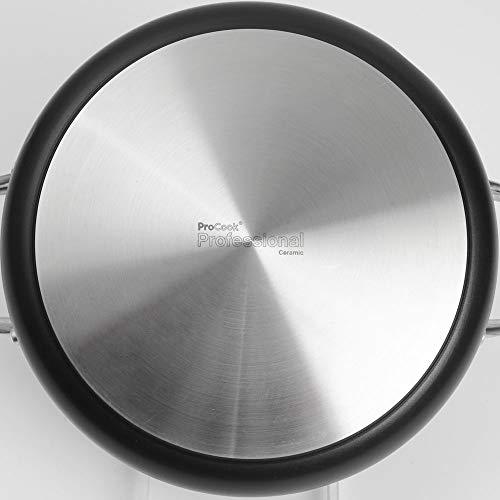 ProCook Professional Ceramic niedriger Bratentopf mit Deckel mit Keramikbeschichtung, induktionsgeeignet, 24 cm Ø, 3,6 l Volumen