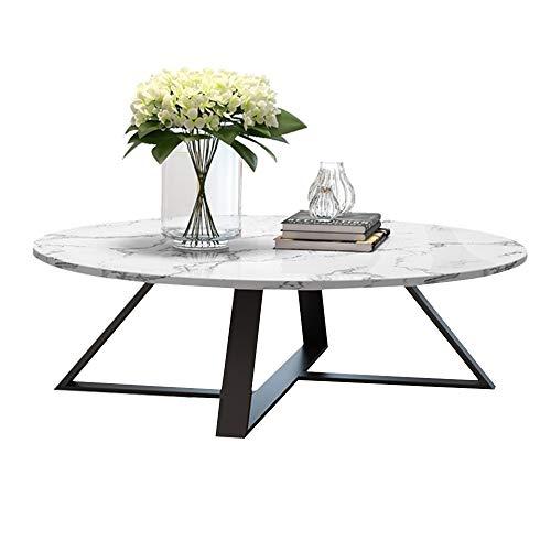 KUKU-Couchtisch Runder weißer Marmor-Couchtisch-Satz, schwarzer Schmiedeeisen-Kombinations-Beistelltisch, passend für Beistelltisch durch Wohnzimmer-Sofa -