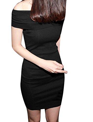 Femme Sans Bretelle Modèle Couleur Unie Slim Fit Robe Soirée Sexy Noir