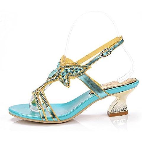 Ei&iLI Verano rhinestone sandalias 5,5 cm Slip-on de las mujeres mediados tacones sandalias de fiesta de playa vestido azul de la boda , blue ,