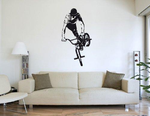 Wandtattoo BMX - Fahrer #170A schwarz 60cm x 115cm (RAL9005) VERSANDKOSTENFREI!