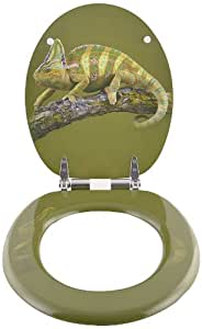 Toilettendeckel WC Deckel WC Sitz Klodeckel Klobrille WC Brille grün Chamäleonmotiv mit Absenkautomatik (softclose) universal