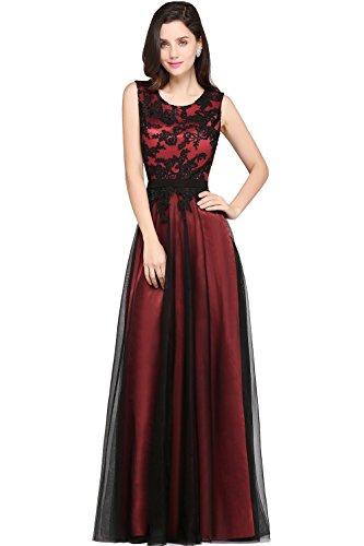 Damen Lange Ärmellos A linie Spitzenkleid Abschlussball Kleid Abend Partei Kleidern für Frauen Satin Brautjunferkleider Rot Gr.36 (Kleid Satin Langes)