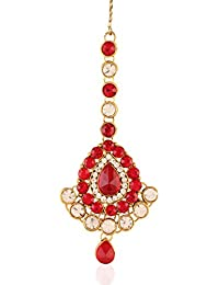I Jewels Traditional Gold Plated Maang Tikka for Women T002R (Red)