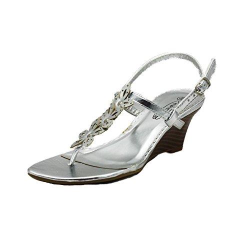 Sandales à talon compensé dames avec bride fleur et talon compensé silver