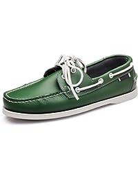 0c18763f0dc2e Jincosua Zapatos cómodos de Cuero Genuino para Hombres Cordones Suaves  Zapatos Antideslizantes en Suela (Color
